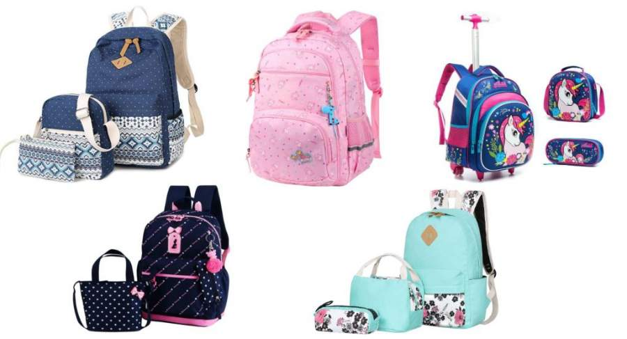 Kids Girl Cartoon Print School Bags For Teenagers Backpack Shoulder Book Bags