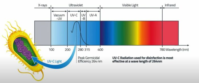 UVC light range critical for microbes.